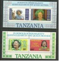 Tanzania - 1985 Queen Mother Birthday S/sheet Pair MLH *    SG MS429  Sc 269a-70a - Tanzania (1964-...)