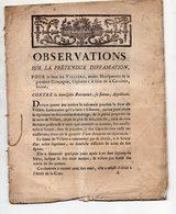 Villiers (??) Factum  Observations POUR Le Sieur DE VILLIERS , CONTRE La Demoiselle BOURDET  C1785 (FCT034) - Documentos Históricos