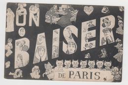MF443 - Un Baiser De Paris Signée SAGER - LCH Déposé - Illustration Femme, Chat, Couple - Sager, Xavier