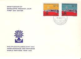 Liechtenstein 1960: Flüchtlingsjahr Réfugies Zu W27-28 Mi 389-390 Yv 331-332 FDC Mit O VADUZ 7.IV.60 (Zumstein CHF 9.00) - FDC