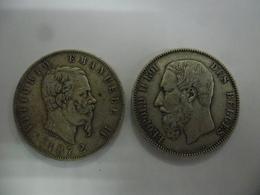 LOT ECUS ITALIE 5 LIRE 1872 ET BELGIQUE 5 F 1876 De 37 Mm Pour 25 Grammes Chacune @ 2 Photos - Andere - Europa