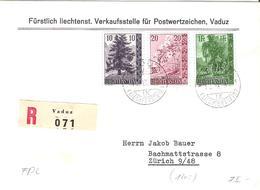 Liechtenstein 1957: Bäume Arbres Trees Zu 301-303 Mi 357-359 Yv 319-321 R-FDC O VADUZ 10.IX.57 (Zumstein CHF 110.00) - FDC