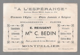 """MONTPELLIER  Religion  """"A L'Espérance"""" Ornements D'église  Mlle BEDIN, Au Dos """"curé D'Ars..."""" - Cartes De Visite"""