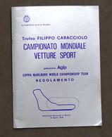 Trofeo Caracciolo Campionato Mondiale Vetture Sport Monza - 1976 - Regolamento - Libros, Revistas, Cómics