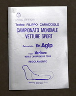 Trofeo Caracciolo Campionato Mondiale Vetture Sport Monza - 1977 - Regolamento - Altri