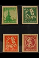 RUSSIAN ZONE THURINGIA 1945-46 5pf Yellow-green, 6pf Blue-green, 8pf Orange & 12pf Red IMPERF, Michel 94/97 AXw U, Never - Allemagne