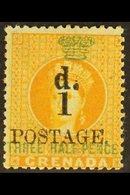 1886 1d On 1½d Orange, SG 37, Fine Mint. For More Images, Please Visit Http://www.sandafayre.com/itemdetails.aspx?s=6247 - Grenada (...-1974)