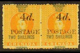 1888 4d On 2s Orange, 5mm Spacing, SG 42, Scarce Mint Pair. For More Images, Please Visit Http://www.sandafayre.com/item - Grenada (...-1974)