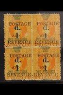 1888-91 1d On 2s Orange Surcharge Type 18, SG 44, Very Fine Mint BLOCK Of 4, Minor Perf Reinforcement, Very Fresh, Attra - Grenada (...-1974)
