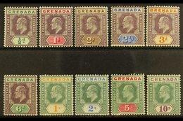 1902 1902 Complete Definitive Set, SG 57/66, Fine Mint. (10 Stamps) For More Images, Please Visit Http://www.sandafayre. - Grenada (...-1974)