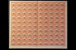 1938-54 10c Red-brown & Orange Perf 13x11¾, SG 134, Never Hinged Mint COMPLETE SHEET Of 100 With De La Rue Imprint And ' - Publishers