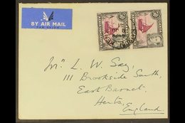 1938-54 50c Purple & Black Perf 13x12½ DOT REMOVED IN PAIR WITH NORMAL Variety, SG 144eb, Very Fine Used On 1951 Airmail - Publishers