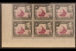 1938-54 50c Reddish Purple & Black, Corner Marginal Block Of Six (R9/1-3 & R10/1-3) With DOT REMOVED, In Pair With Norma - Publishers