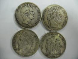 LOT FRANCE ECUS 5 FRANCS 1830 W Sans Le I, 1842  W, 1868 BB Et 1873 K  De 37 Mm Pour 25 Grammes Chacune @ 2 Photos - J. 5 Francs