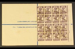 """1948 (8 Apr) 4½a Registered Stationery Env Bearing A Spectacular Block Of Sixteen 1½a Stamps """"PAKISTAN"""" Handstamps As Ap - Pakistan"""