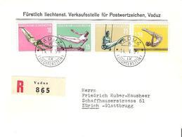Liechtenstein 1957: Sport IV Turnen Gymnastique Zu 297-300 Mi 353-356 Yv 315-8  R-FDC VADUZ 14.V.57 (Zumstein CHF 100.00 - FDC