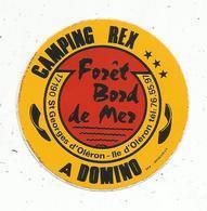 Autocollant , CAMPING REX , Domino,  SAINT GEORGES D'OLERON ,forêt , Bord De Mer - Stickers