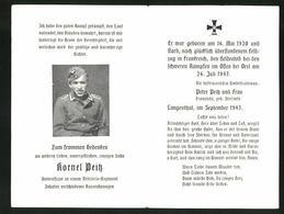 Sterbebild Kornel Peitz, Artillerie Unteroffizier., Gefallen An Der Ostfront 1943 Bei Orel - Dokumente