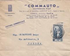 """BUSTA VIAGGIATA - VERONA - FIAT """" COMMAUTO,, COMMISSIONARIA FIAT - VIAGGIATA PER VERONA - 6. 1946-.. Repubblica"""
