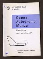 Sport - Coppa Autodromo Monza - Formula 3 - Regolamento - 5 Maggio 1968 - Altri
