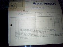 Facture Salaison Maritimes En Gros Marèe Fraiche ALBERT MASSIF A Boulogne Sur Mer Annèe 1947 - Alimentare