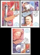 Space USSR 1981 3 Stamps Mi 5056-58Zf  3 Maximum Cards Cosmonautics Day - Yuri Gagarin - FDC & Commemorrativi