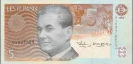 Estonia 1994 Uncirculate Banknote 5 Kroon P.Keres Great Chess Master *UNC* Condition - Estland