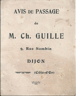Avis De Passage Ch. Guille Dijon Haut Fourneau Fonderie Usines De Larians Hte Saône Derosne Et Cie Maîtres De Forges - Visiting Cards