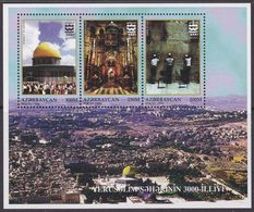 Azerbaijan 303-305 - Anniversary Of Jerusalem 1996 M/S - MNH - Azerbaijan