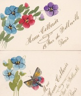 ¤¤  -  PARIS  -  Lot De 2 Mini-Carte Peinte à La Main  -  Henri Cellerier 19 Rue De Belleville  -  Fleurs, Papillon - Arrondissement: 19