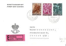 Liechtenstein 1960: Bäume Arbres Trees Zu 345-347 Mi 399-401 Eil-FDC Mit O VADUZ 19.IX.60 (Zumstein CHF 120.00) - FDC