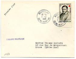 France N° 1187 Y. Et T. Seine Maritime Bonsecours Cachet Type A7 Du 02/02/1959 - Marcophilie (Lettres)