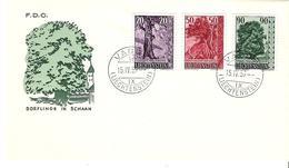 Liechtenstein 1959: Bäume III. Arbres Trees Zu 321-323 Mi 377-379 Yv 339-341 FDC O VADUZ 15.IV.59 (Zumstein CHF 35.00) - FDC