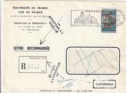 """Lettre Recommandée De Périgueux RP (Dordogne, 24) Du 06-01-1967 - """"Inconnu"""" Et """"Retour à L'envoyeur"""" - Marcophilie (Lettres)"""