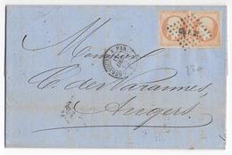 """1862 - FERROVIAIRE - LETTRE 3° ECHELON De CHERBOURG (MANCHE) Avec AMBULANT CHERBOURG à PARIS 2° """"F"""" => ANGERS - Marcophilie (Lettres)"""