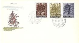 Liechtenstein 1958: Bäume II. Arbres Trees Zu 315-317 Mi 371-373 Yv 333-335 FDC O VADUZ 12.VIII.58 (Zumstein CHF 35.00) - FDC