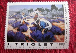 J. TRIOLET 20 ANS DE PEINTURE  FONDATION VASARELY 1993 Vignette Timbre  Neuf ** MNH Erinnophilie THEME PEINTRES - Commemorative Labels