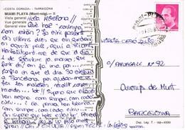 33439. Postal MIAMI PLAYA (Montroig) Tarragona 1989.  Fechador Miami Playa - 1931-Hoy: 2ª República - ... Juan Carlos I