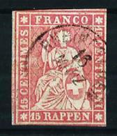 Suiza Nº 28 USADO - 1854-1862 Helvetia (Sin Dentar)