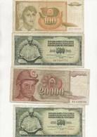LOT DE 7 BILLETS  - 4 BILLETS YOUGOSLAVIE + 3 BILLETS TURQUIE - - Bankbiljetten