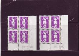 N° 2619 - 0,50F Marianne De BRIAT - 2° Tirage Du 15.3 Au 19.3 - 16.3.90 (1/2 Tarits - 1 Sans Marque) - 1980-1989