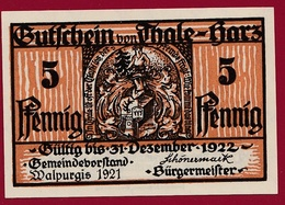 Allemagne 1 Notgeld 5 Pfennig Stadt Thale-Hartz   (RARE) Dans L 'état N °4228 - Collections
