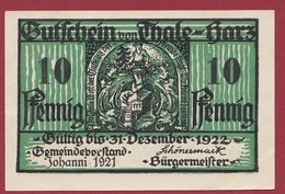 Allemagne 1 Notgeld 10 Pfennig Stadt Thale-Hartz   (RARE) Dans L 'état N °4229 - Collections