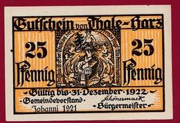 Allemagne 1 Notgeld 25 Pfennig Stadt Thale-Hartz   (RARE) Dans L 'état N °4230 - Collections