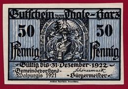 Allemagne 1 Notgeld 50 Pfennig Stadt Thale-Hartz   (RARE) Dans L 'état N °4231 - Collections