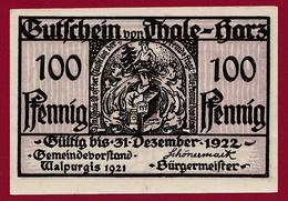 Allemagne 1 Notgeld 100 Pfennig Stadt Thale-Hartz   (RARE) Dans L 'état N °4234 - Collections