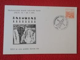 POSTAL POST CARD AJEDREZ CHESS Échecs SCHACH XADREZ PIEZA PIECE YUGOSLAVIA JUGOSLAVIJA PIECES PIEZAS TITO 1981 JAJCE VER - Postales