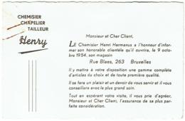 Carte Visite. Ouverture Chemisier-Chapelier-Tailleur HENRY, 263 Rue Blaes, Bruxelles En 1954. - Cartoncini Da Visita