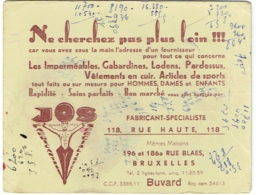 Buvard. Fabricant JOS. Imperméables, Gabardines, Lodens... 118 Rue Haute- 196 Rue Blaes, Bruxelles. - Vestiario & Tessile