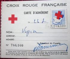 1958 CARTE ADHÉRENT Timbres  Europe  France  Erinnophilie  2 Vignettes Ligue Internationale De La Croix Rouge Française - Commemorative Labels